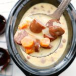 Crock-Pot Cheese, Beer & Bratwurst Soup