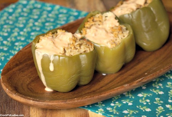 Crock-Pot Chicken Stuffed Green Peppers