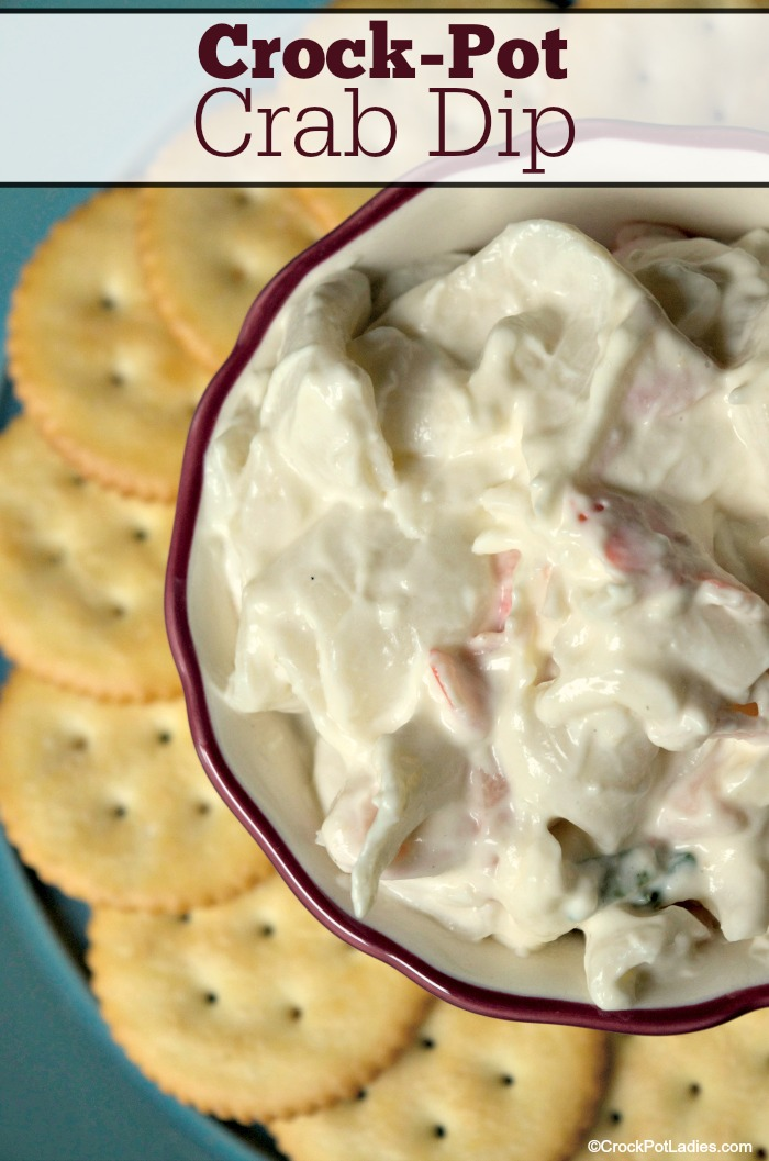 Crock-Pot Crab Dip - Your party guests will be impressed with this easy recipe for Crock-Pot Crab Dip! Serve with your favorite crackers, slices of crusty bread or pita chips! [Gluten Free, Low Calorie, Low Carb, Low Fat, Low Sodium, Low Sugar & 5 Weight Watchers SmartPoints per serving!] #CrockPotLadies #CrockPot #SlowCooker #Dips
