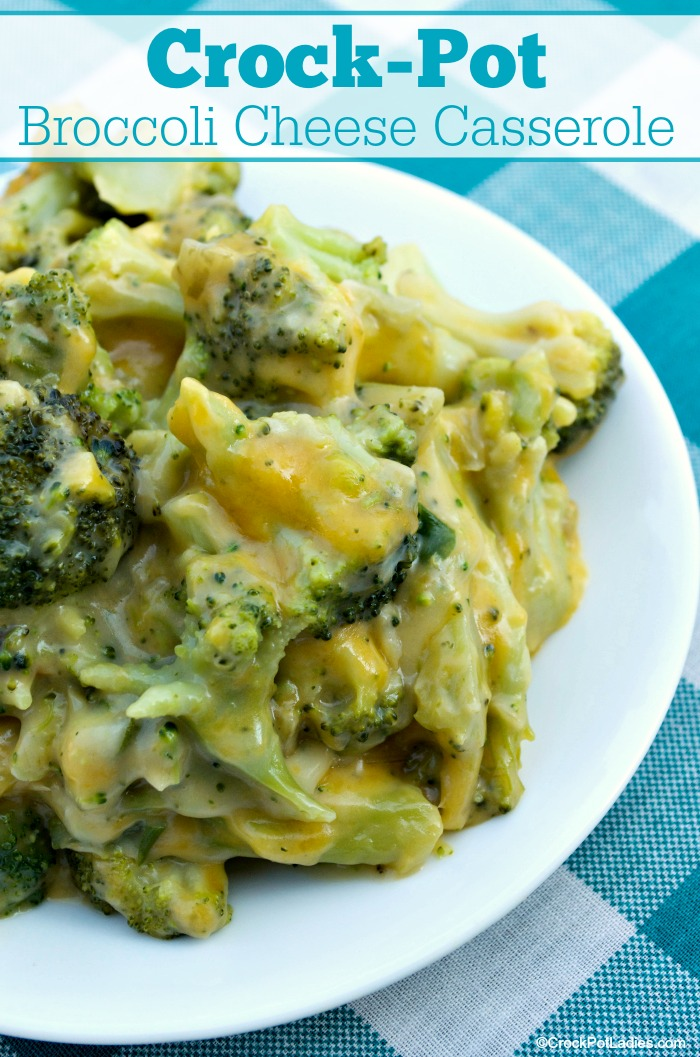 Crock-Pot Broccoli Cheese Casserole - If you are looking for a quick and easy slow cooker side dish then you are going to want to try this recipe for Crock-Pot Broccoli Cheese Casserole today! Broccoli and cheese combine for a flavorful cheesy dish that everyone will love! [Vegetarian, Low Cholesterol, Low Carb, High Fiber, Low Sugar & 7 Weight Watchers SmartPoints Per Serving!] #CrockPotLadies #CrockPot #SlowCooker #Casserole #SideDishes
