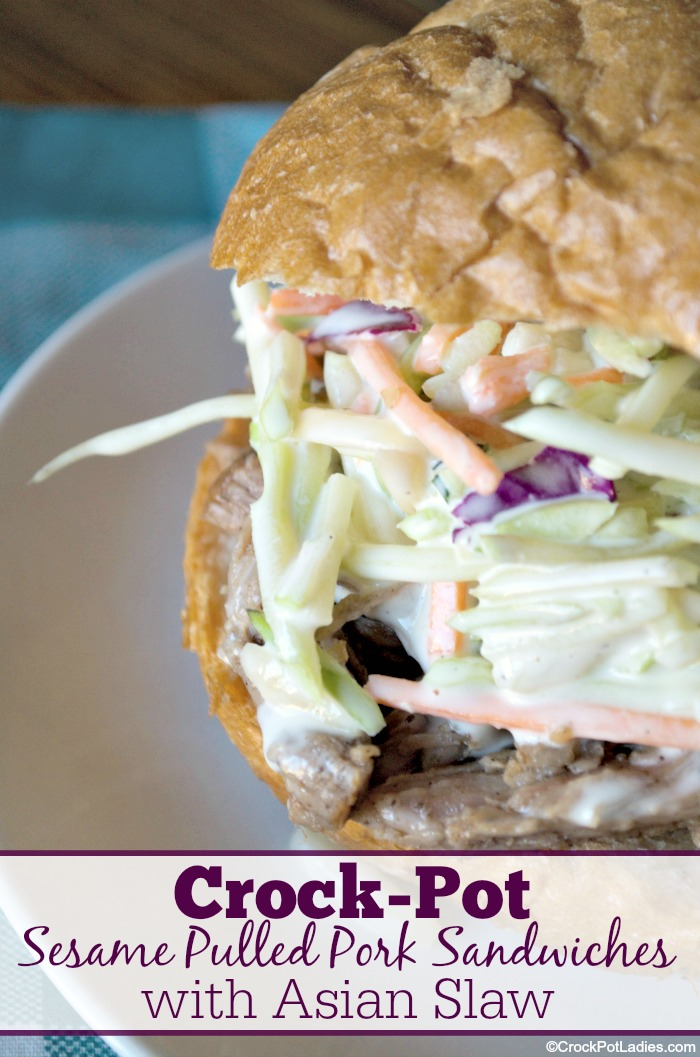 Crock-Pot Sesame Pulled Pork Sandwiches with Asian Slaw Recipe