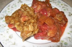 crock-pot rhubarb and strawberry crisp
