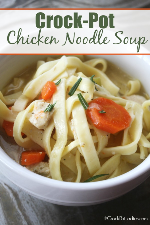 Crock-Pot Chicken Noodle Soup - Nothing says comfort food more than a piping hot bowl of Crock-Pot Chicken Noodle Soup. Rich broth is simmered away all day with chunks of chicken and hearty vegetables and then at the end thick noodles are added to make the perfect bowl of chicken and noodle soup that you will ever eat! {from CrockPotLadies.com}