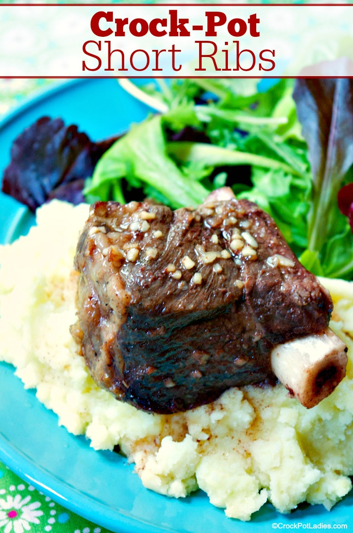 Crock-Pot Short Ribs - A handful of ingredients are needed for this delicious recipe for Crock-Pot Short Ribs. Red wine, brown sugar, olive oil, garlic, salt, pepper & beef ribs. [Gluten Free, Low Carb, Low Sodium & Low Sugar] #CrockPotLadies #CrockPot #SlowCooker #BeefRecipes #ShortRibs