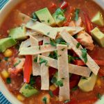 Crock-Pot Healthy Chicken Tortilla Soup - Warm up to this healthy Mexican inspired dish with recipe for Slow Cooker Healthy Chicken Tortilla Soup. So easy, fresh and satisfying! | CrockPotLadies.com