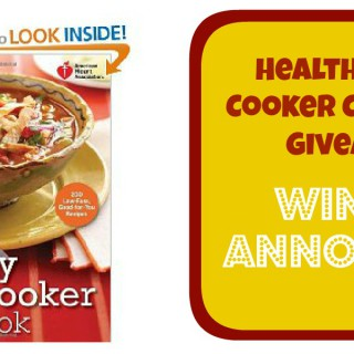 Winner! – Healthy Slow Cooker Recipes Cookbook Giveaway