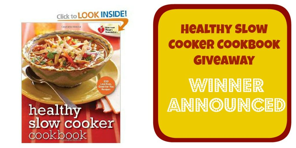 Winner! – Healthy Slow Cooker Recipes Cookbook Giveaway