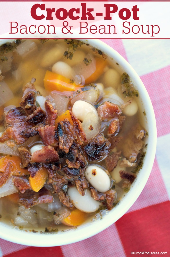 Crock-Pot Bacon & Bean Soup - This warm and hearty soup is perfect for a cold winter day. Even with bacon this soup is healthy and good for you and can cook all day long while you are away from home. A must try slow cooker soup recipe! [Gluten Free, High Fiber, Low Calorie, Low Cholesterol, Low Fat, Low Sodium, Low Sugar and just 1 Weight Watchers SmartPoint per serving!] #CrockPot #SlowCooker #SoupRecipes #WeightWatchers #HealthyRecipes