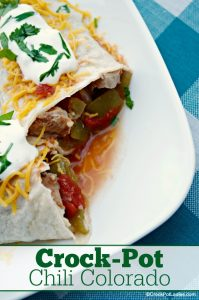 Crock-Pot Chili Colorado - Serve this delicious yet easy Crock-Pot Chili Colorado as a delicious burrito filling. OR add a couple of cans of pinto or kidney beans for a traditional chili with beans. Topped with cheese, sour cream & cilantro it is sure to please! [Gluten Free, Low Calorie, Low Carb, Low Fat, Low Sugar, Healthy and just 4 Weight Watchers SmartPoints per serving] #CrockPot #SlowCooker #Recipe #CrockPotLadies