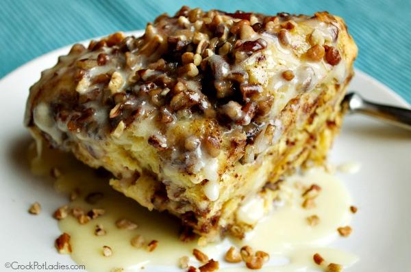 Crock-Pot Cinnamon Sweet Roll Casserole + Video