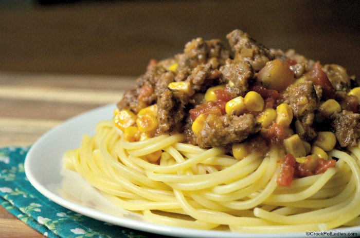 Crock-Pot Taco Spaghetti