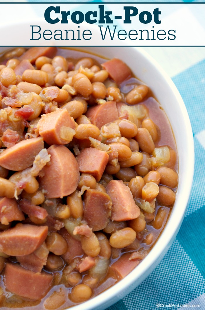 Crock-Pot Beanie Weenies - The kids will love this fun and classic recipe for Crock-Pot Beanie Weenies. Canned pork and beans and hot dogs are seasoned up with a few basic ingredients. {Gluten Free, High Fiber, Low Calorie, Low Cholesterol, Low Fat & Just 6 Weight Watchers SmartPoints] #CrockPotLadies #CrockPot #SlowCooker #Recipes #KidFriendly #EasyRecipes #FrugalRecipes