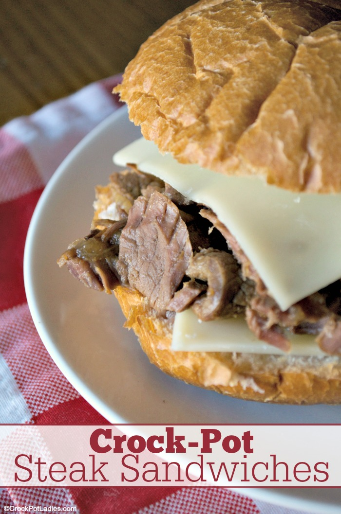 Crock-Pot Steak Sandwiches - Turn beef or venison steaks into mouthwatering sandwiches that are perfect for dinner or lunch any day of the week. Only a handful of ingredients thrown in your slow cooker and you have the meat for these sandwiches cooking in no time flat! [Gluten Free, Low Calorie, Low Carb, Low Sugar & Just 7 Weight Watchers SmartPoints per serving!] #CrockPotLadies #CrockPot #SlowCooker #BeefRecipes #Sandwiches