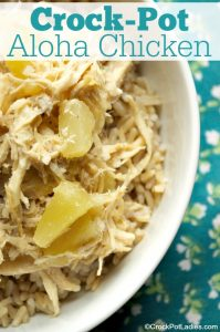 Crock-Pot Aloha Chicken - Make this delicious recipe for Crock-Pot Aloha Chicken in your slow cooker today or prep ahead for a quick and easy crock-pot freezer meal. Your family will love the sweet and tangy chicken served over rice! | via CrockPotLadies.com