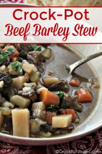 Crock-Pot Beef Barley Stew - Prepare this easy recipe for Slow Cooker Barley Beef Stew as a freezer meal or just make it and enjoy. Full of hearty beef, veggies and barley you'll love it! | CrockPotLadies.com