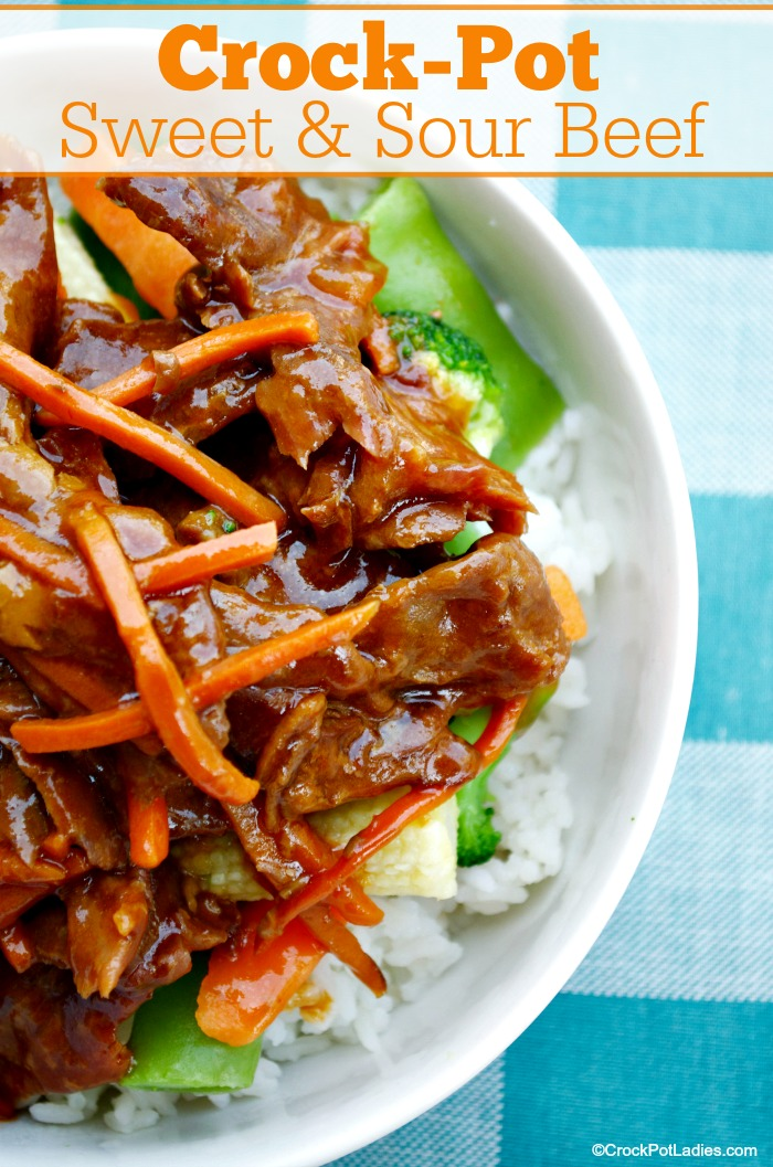 Crock-Pot Sweet & Sour Beef - This recipe for Crock-Pot Sweet & Sour Beef is super easy and we love that it can also be made into a slow cooker freezer meal. Serve the beef over rice for a meal the whole family will love! [Low Fat & Low Sugar] #crockpot #slowcooker #recipes [via CrockPotLadies.com]