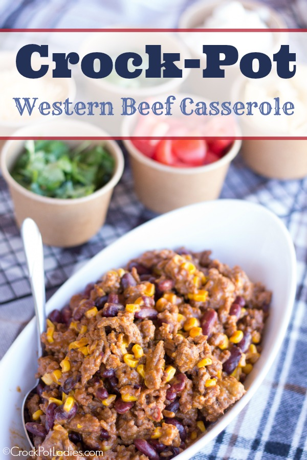 Crock-Pot Western Beef Casserole {from CrockPotLadies.com} - Your family will love this delicious and easy slow cooker recipe. Full of ground beef and veggies! Can also be made into a Crock Pot Freezer Meal!