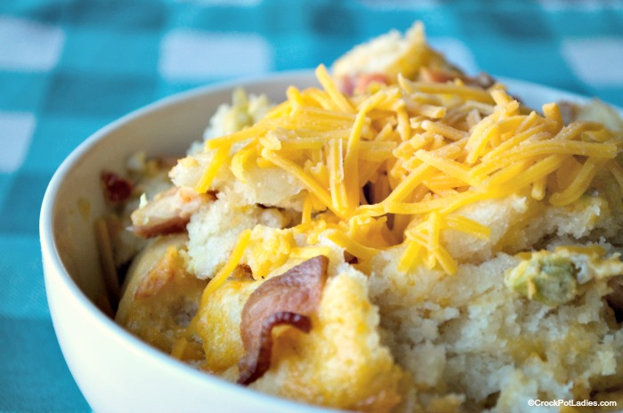 Crock-Pot Biscuit and Bacon Breakfast Casserole