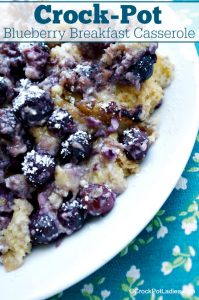 Crock-Pot Blueberry Breakfast Bake - Start your morning with a slice of this delicious recipe for Crock-Pot Blueberry Breakfast Casserole. Using fresh or frozen blueberries this breakfast bake is perfect for breakfast OR brunch and you can prepare it ahead of time in your slow cooker the night before and cook it in the morning. [High Fiber & Vegetarian]