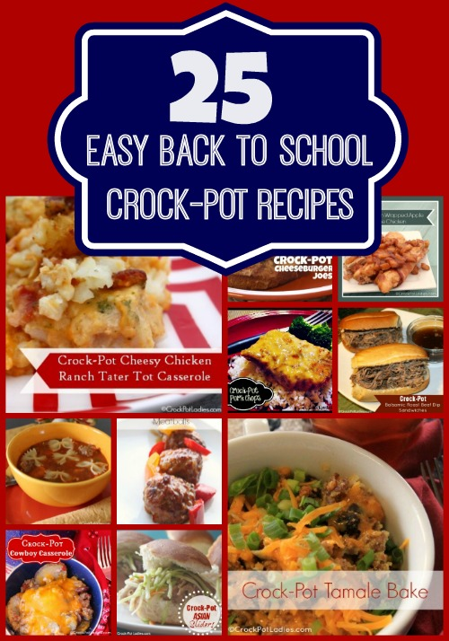 A collection of 25 easy back to school crock-pot recipes from CrockPotLadies. Perfect for any busy school night. Save time with these kid-friendly dinners. | CrockPotLadies.com