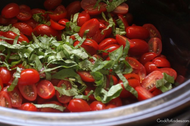 Cherry Tomatoes & Basil In The Slow Cooker