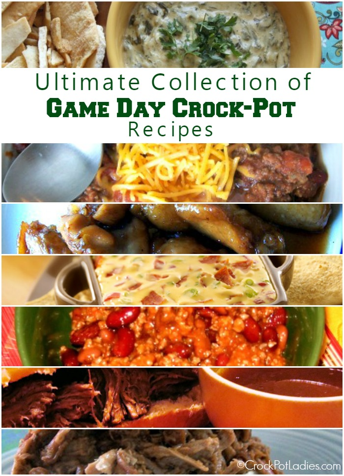 Ultimate Collection Of Crock-Pot Game Day Recipes {via CrockPotLadies.com} - This collection includes almost 100 recipes for dips, appetizers, sandwiches, chilis, wings and more. Perfect for tailgating or your next game day party! #CrockPot #SlowCooker #GameDay #Tailgating #CrockPotLadies