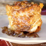 Crock-Pot Pumpkin Praline Bread Pudding Recipe {via CrockPostLadies.com} - Warm pumpkin spiced bread pudding is made easy in the slow cooker. Drizzle it when it is done with a gooey pecan laced praline sauce for an amazing dessert!