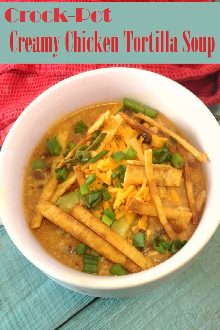 Crock-Pot Creamy Chicken Tortilla Soup {via CrockPotLadies.com} - This easy and delicious recipe is full of Southwest flavor. This recipe allows you to put dinner on the table with ease. A creamy and cheesy soup filled with tender chicken, black beans and corn. Top the soup with your favorite toppings such as sour cream, additional cheese, sliced avocado, cilantro and crispy tortilla strips.