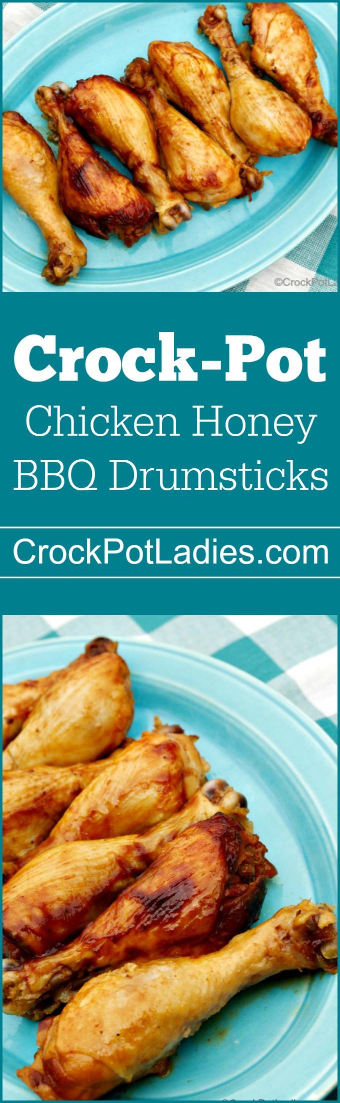 Crock-Pot Chicken Honey BBQ Drumsticks - With just three ingredients (chicken legs, barbecue sauce and honey) this recipe for Crock-Pot Chicken Honey BBQ Drumsticks is sure to please everyone! | via CrockPotLadies.com
