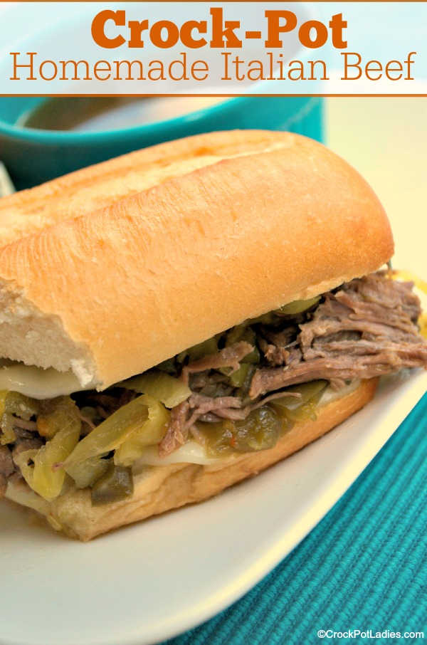 Crock-Pot Homemade Italian Beef - A delicious beef roast is slow cooked for hours in the crock-pot along with zesty Italian seasonings and peppers until it is tender and juicy in this easy recipe for Crock-Pot Crock-Pot Homemade Italian Beef. Shred the beef and serve it on rolls for an amazing dinner or lunch that is full of flavor! [Gluten Free, Low Carb, Low Fat, Low Sugar, Easy Recipe, 5 Ingredients Or Less, Beef Recipes] | CrockPotLadies.com