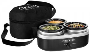 Crock-Pot Lovers Holiday Gift Guide: Crock-Pot SCRMTD307-DK 16-Ounce Little Triple Dipper, Silver and Black