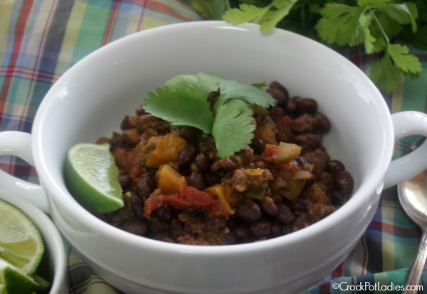 Crock-Pot Black Bean, Chorizo and Butternut Squash Chili