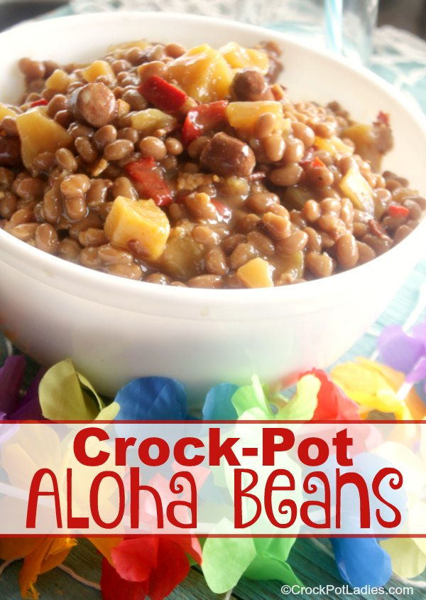 Crock-Pot Aloha Beans - Make these delicious baked beans for your next BBQ cookout and wow your guests with these sweet yet savory beans that are loaded with pineapple chunks, onion, bacon, little smokies and a few other choice spices! |from CrockPotLadies.com