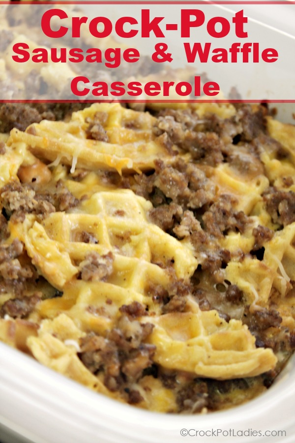 Crock-Pot Waffle and Sausage Casserole - Looking for a quick and easy breakfast casserole that you can make in your crock-pot? Look no further than this recipe for Crock-Pot Waffle and Sausage Casserole! Frozen waffles are combined with sausage, eggs and cheese for a delicious breakfast or brunch! [recipe from CrockPotLadies.com]