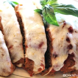 Crock-Pot Chicken Parmigiana Meatloaf - Lighten up your meatloaf with this healthy recipe for Crock-Pot Chicken Parmigiana Meatloaf. Ground chicken is combined with bread crumbs, marinara sauce, Parmesan cheese and marinara sauce and then topped with a little mozzarella cheese!