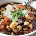 Crock-Pot Pasta Fagoli Soup (Olive Garden Copycat Recipe) - If you love the Pasta Fagoli Soup at Olive Garden restaurants you are going to LOVE this copycat version that you can make in your slow cooker! This recipe for Crock-Pot Pasta Fagoli Soup is warm and hearty full of flavorful vegetables, beans, ground beef and pasta all swimming in a delicious Italian broth! | CrockPotLadies.com