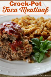Crock-Pot Taco Meatloaf - Crushed tortilla chips, salsa & taco seasoning gives a classic recipe a new flavorful twist with this easy slow cooked recipe for Crock-Pot Taco Meatloaf! | CrockPotLadies.com