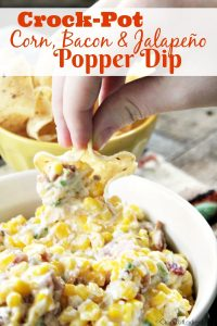 Crock-Pot Corn, Bacon & Jalapeño Popper Dip - Perfect for parties this delicious Crock-Pot Corn, Bacon & Jalapeño Popper Dip is full of Mexican flavor and as spicy as you like it! @CrockPotLadies