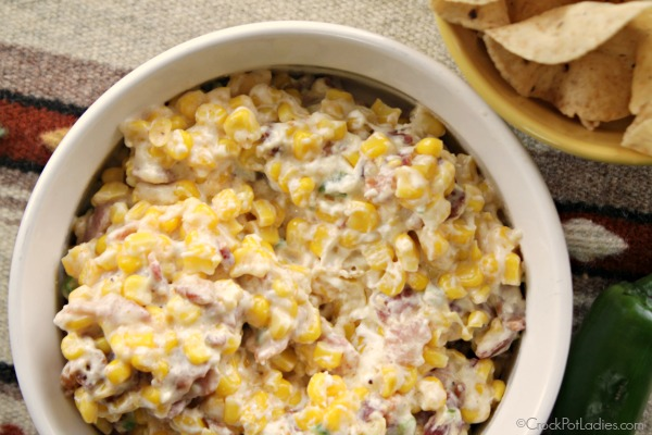 Crock-Pot Corn, Bacon & Jalapeño Popper Dip