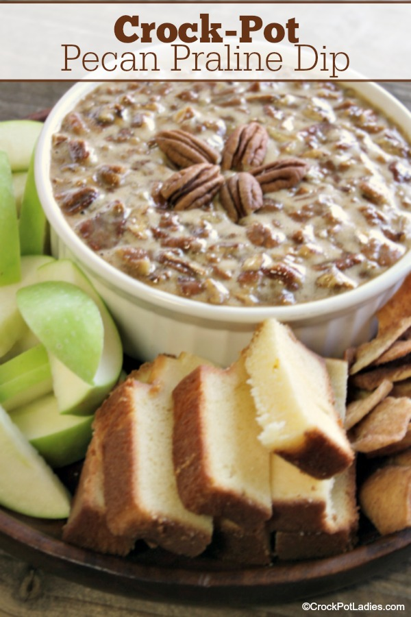 Crock-Pot Pecan Praline Dip - Serve this amazing Crock-Pot Pecan Praline Dip with slices of apples, pound cake or cinnamon pita chips for a sweet dip perfect for the holiday season! You can also spoon this over your favorite ice cream as a dessert sauce. Either way it is going to make your mouth water!
