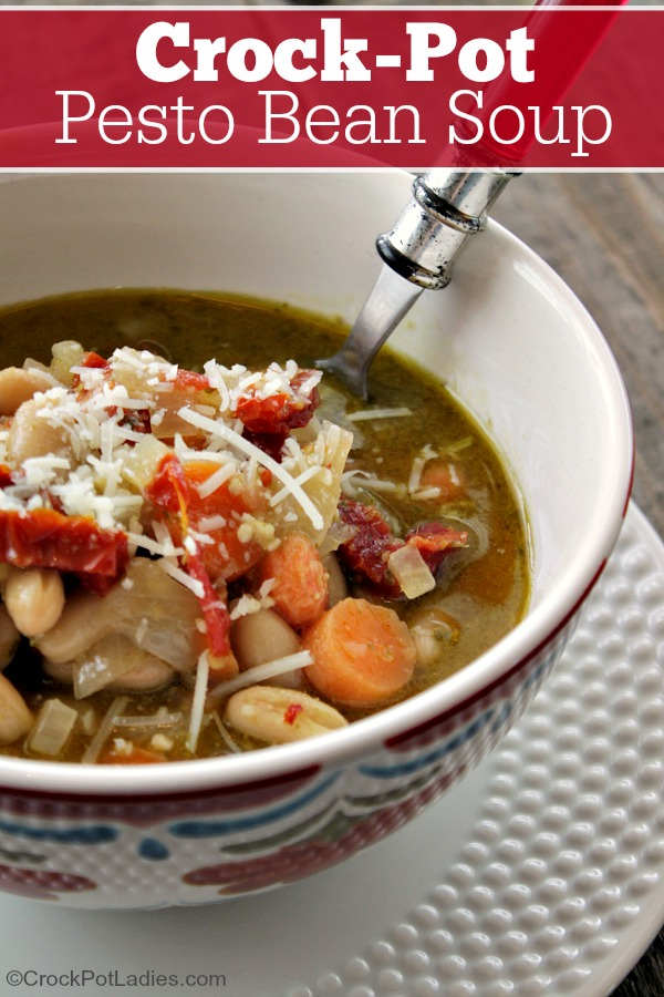 Crock-Pot Pesto Bean Soup - This easy vegetarian soup recipe for Crock-Pot Pesto Bean Soup is full of flavor! White beans, sun dried tomatoes & pesto are the outstanding flavors in this amazing soup! | CrockPotLadies.com