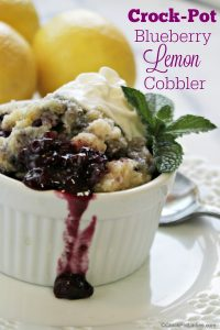 Crock-Pot Blueberry Lemon Cobbler - Juicy blueberries are combined with the bright zest of lemon in this amazing recipe for Slow Cooker Blueberry Lemon Cobbler! The perfect summer dessert! If desired top the warm cobbler with a scoop of vanilla ice cream or some luscious whipped cream! SO GOOD! | CrockPotLadies.com
