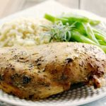 Crock-Pot Roasted Herbed Chicken - No one will believe that this chicken was cooked in the slow cooker! This recipe for Crock-Pot Roasted Herbed Chicken is super easy and good for you too! Serve the roasted chicken for dinner or shred or cut up the chicken and use in any recipe that calls for cooked rotisserie chicken meat! {Healthy, Gluten Free, Low Calorie, Low Carb, Low Fat, & Low Sugar} | Recipe via CrockPotLadies.com