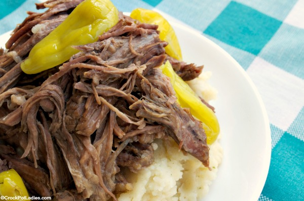 Crock-Pot Mississippi Roast - Simple ingredients for a simple recipe to make a low carb roast that is moist, tender and rich tasting with this recipe for Crock-Pot Mississippi Roast. You can adjust the spiciness by removing all or as many of the pepperoncini peppers as you wish! #LowCarb #LowSugar #Recipe #CrockPot #SlowCooker #CrockPotLadies