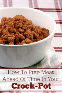 How To Prep Meat Ahead Of Time In Your Crock-Pot - Save time and money buy cooking ground beef, ground turkey, ground chicken, ground sausage and even beef stew meat in your slow cooker. Pop it into the freezer and you have meat ready to go for your families meals. This simple trick makes meal planning just a little bit easier so you can get dinner on the table quicker! | CrockPotLadies.com