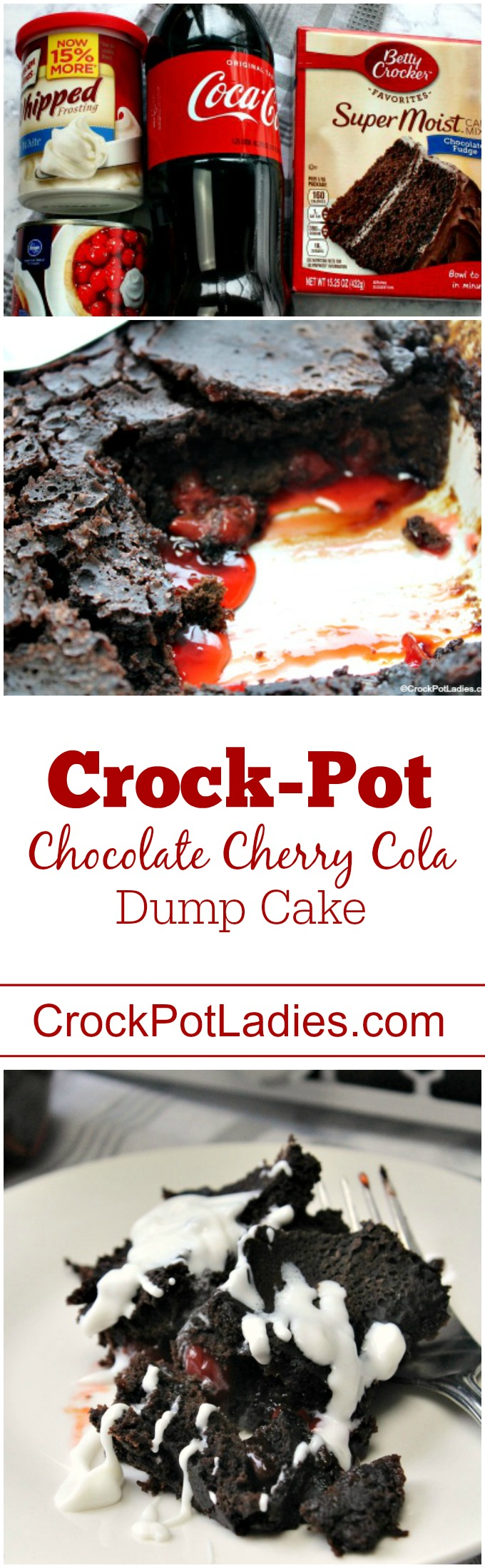 Crock-Pot Chocolate Cherry Cola Dump Cake - With just 4 ingredients this easy to make dessert recipe for Crock-Pot Chocolate Cherry Cola Dump Cake could not be simpler to make and the flavor is out of this world! A box of chocolate cake mix, a can of cola, a can of cherry pie filling and cream cheese icing is all you need for this slow cooker dessert! #CrockPot #SlowCooker #Recipe #ValentinesDay #Chocolate #Cherry #Dessert #LowFat #LowSodium #Vegetarian