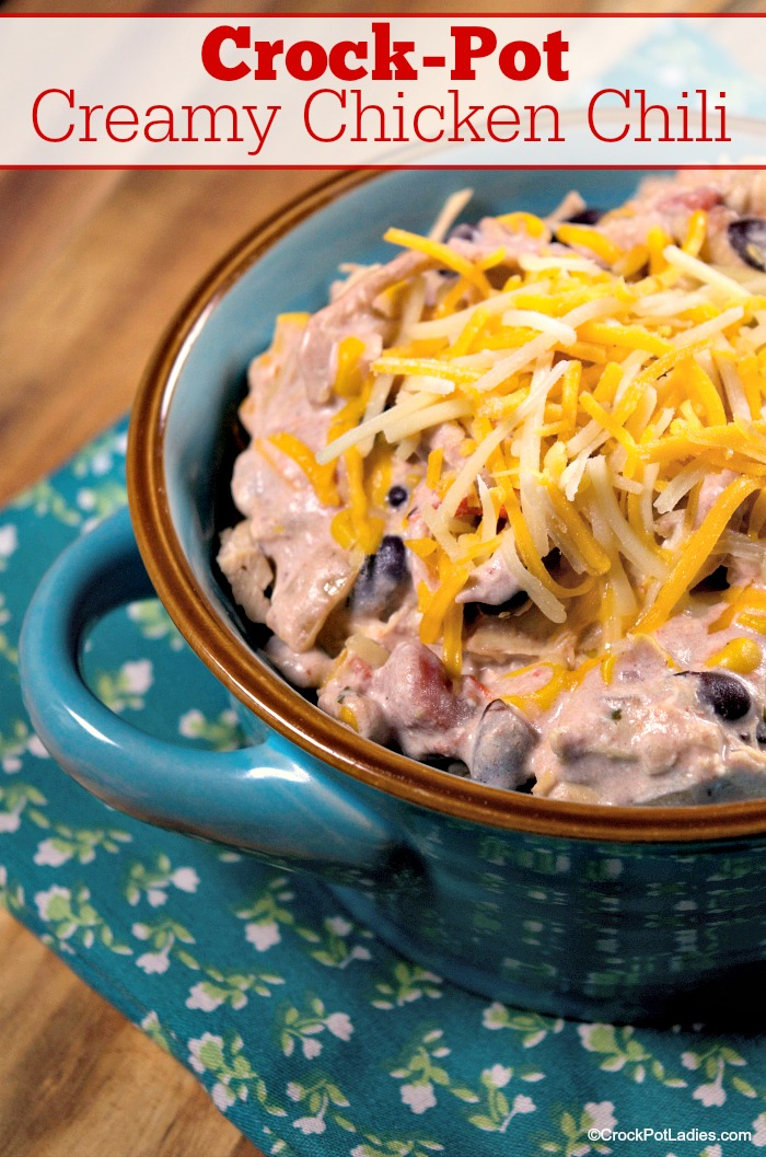 Crock-Pot Creamy Chicken Chili - Cream cheese and ranch seasoning mix make this recipe for Crock-Pot Creamy Chicken Chili a smooth yet hardy variation on chili that the whole family will love! Just 3 Weight Watchers SmartPoints per serving! #crockpot #slowcooker #recipes #glutenfree #highfiber #lowfat #lowsugar #weightwatchers #freestyle