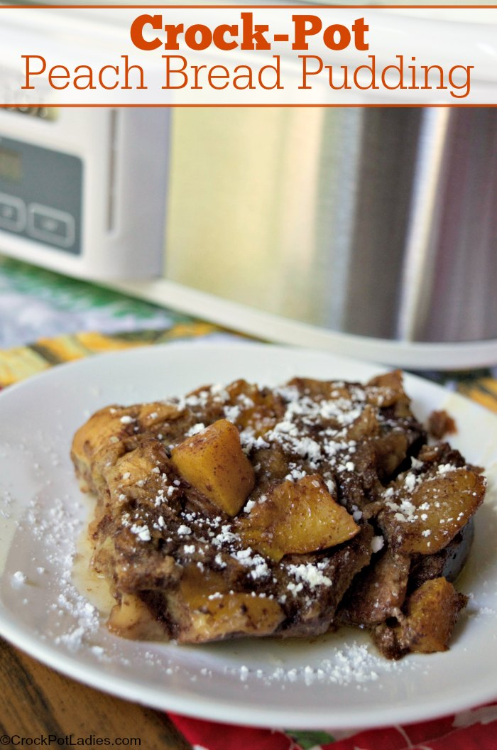 Crock-Pot Peach Bread Pudding