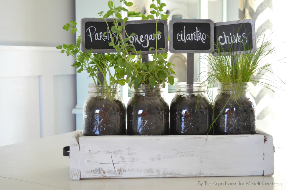 Pallet Table Top Herb Garden