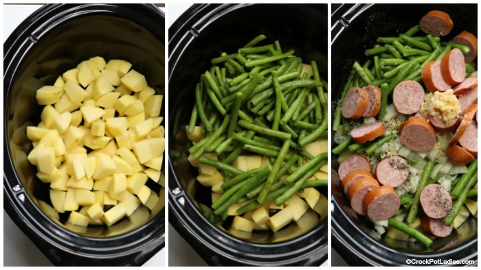 Add Ingredients For Crock-Pot Potatoes, Sausage And Green Beans